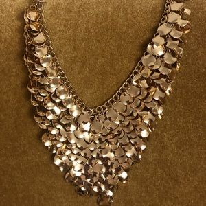Express Gold Curved Metal Disc Bib Necklace